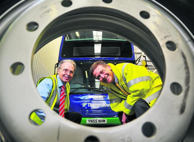 Swindon Advertiser: Dave Spencer, head of engineering at Thamesdown, left, with John Catling, chief executive officer of Wheelright