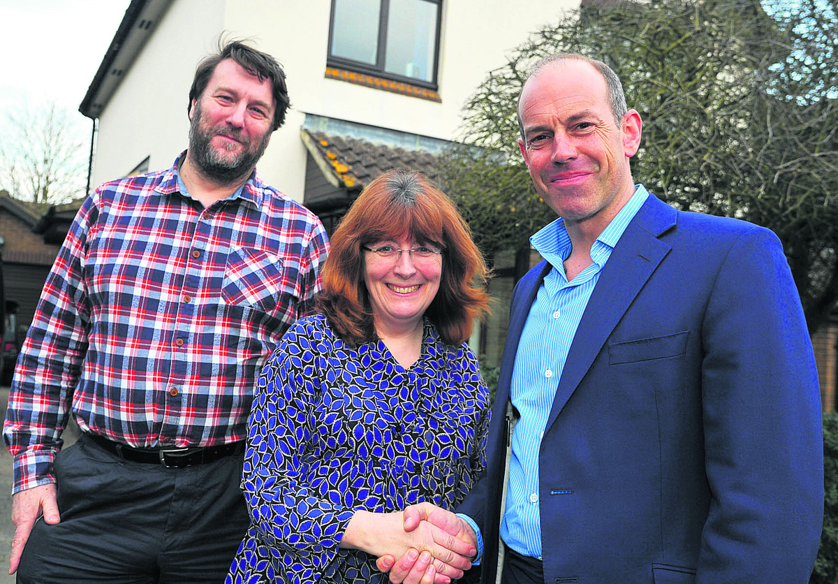 Phil Spencer, right, with Robert and Angela Morrison at their house in Shrivenham, which he is trying to sell through his TV programme Secret Agen