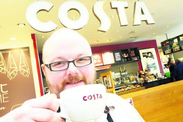 Swindon Advertiser: Costa Next@Home manager Matt Burt raises a cup to Karen Lloyd
