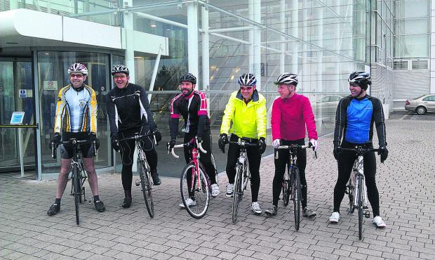 The team who are cycling from Nationwide, Pipers Way to their Threadneedle Street office in London for Sport Relief