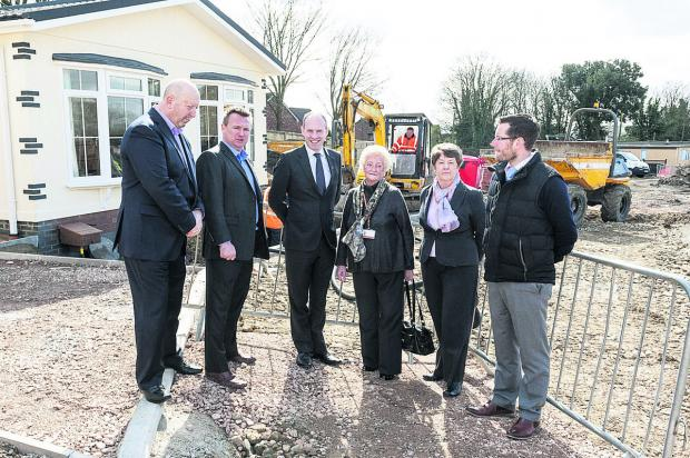 Discussing the work at the Blunsdon Abbey Park development, from left, Martin Clifton, of Homeseeker Park Homes, park owner Adam Griffin, Swindon North MP Justin Tomlinson, Vera Tomlinson, Mary Friend and park manager Nick Bond-Powell
