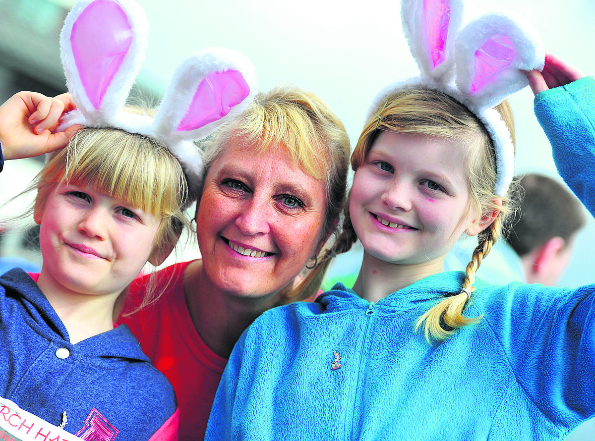 Chloe, Nicky Anning and Phoebe take part in the Mad March Hare event at Lydiard Park for Breakthrough Breast