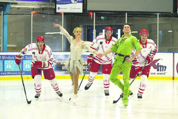 Peter Pan skaters Katya Bokiy and Anton Smirnov with Swindon Wildcats Aku Pekkarinen, Henri Sandvik and Jan Kostal