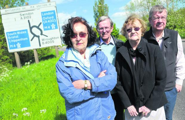 Swindon Advertiser: From left, Mollie Groom, Tom Pepperall, Avril Roe and John Bennett who are opposing Wiltshire County Council's proposals to overhaul the M4 Junction 16 area