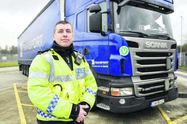 Insp Steve Cox, head of roads policing, taking part in Operation Harness, which was focused on stopping and inspecting lorries and vans