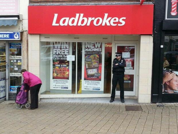 Staff at Ladbrokes in Regent Street were victims of an armed robbery this morning