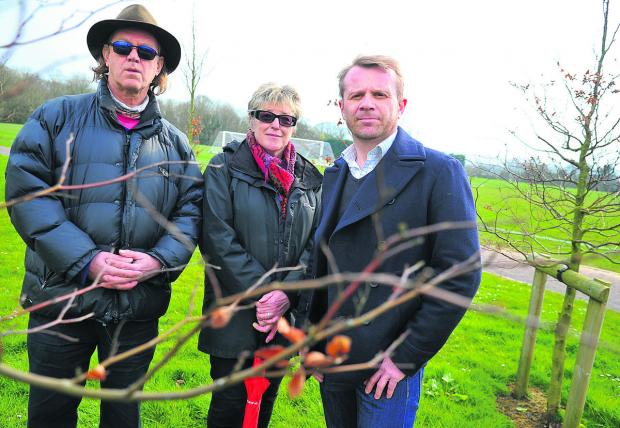 Pipers Area Residents' Association is looking to protect Croft sports field as green space. Left to right are David Bent, Bea Menier and Colin Doubleday