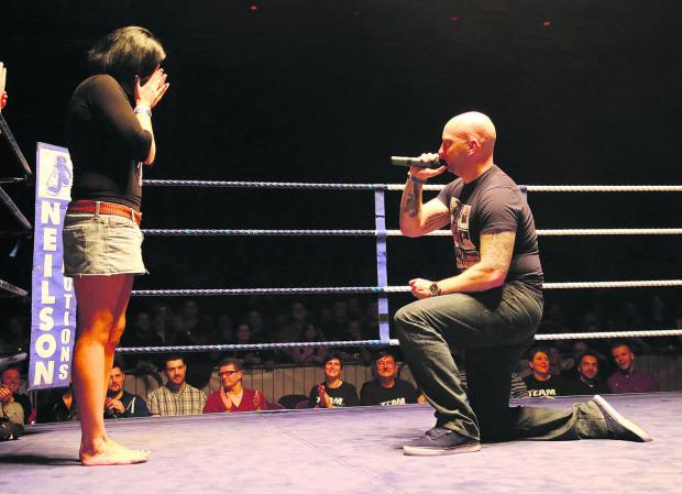 Paul Bunney proposed to girlfriend Dani Nash at a boxing event in Swindon at the weekend