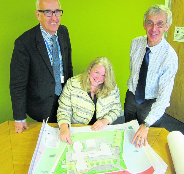 Jane Leo, the headteacher of the  new school at Tadpole Farm pictured with, left, John Swainston, the diocesan director of education and CEO of the Diocese of Bristol's Academies' Trust and Andrew Wild, the senior effectiveness officer at the Diocese