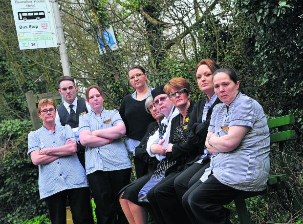 Staff at Blunsdon House Hotel are up in arms about the cancellation of the bus service. From left, Gayle Crockett, Ben Walters, Annette Taylor, Iwona Zolopa, Val Dunbar, Ruth Fitchett, Emma Walters, Kelly Walford and Julie Northall