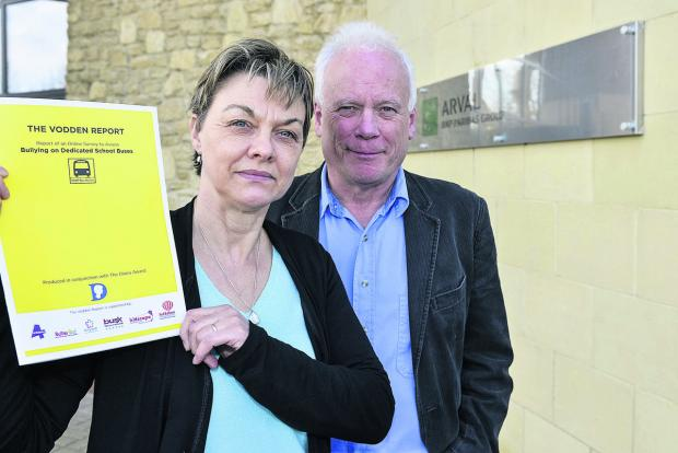Caroline and Paul Vodden, who are leading the new campaign to stop bullying on school buses