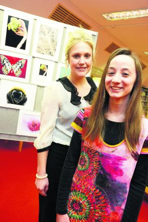 Exhibition of work by DASH and the Swindon branch of National Autism Society. Pictured Laura Morris and Chloe Grubb