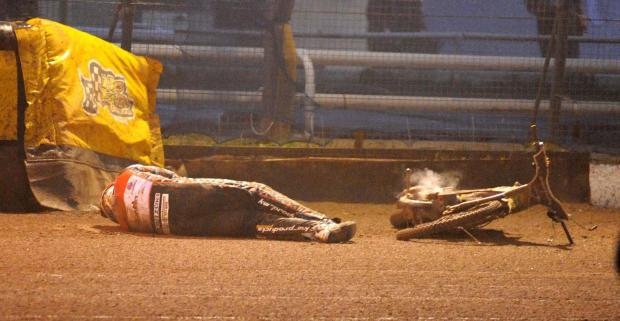 Swindon Robins rider Darryl Ritching after his crash last night