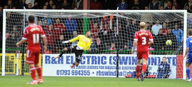 Wes Foderingham is beaten in the 2012 FA Cup defeat to Macclesfield at the County Ground