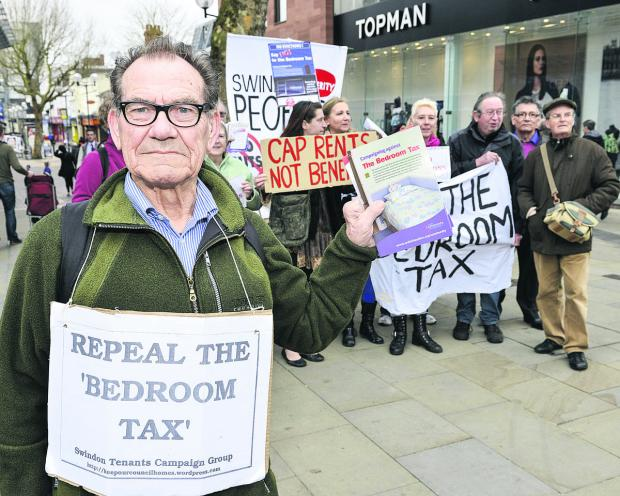 The People's Assembly protesting in Swindon town centre against the Bedroom Tax. Pictured front is Brian Shakespeare