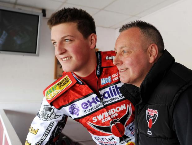 Swindon Robins boss Alun Rossiter with Darryl Ritchings