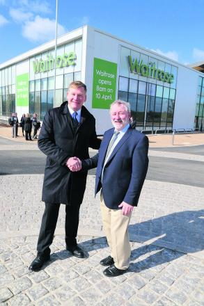 Housing Minister Kris Hopkins with Coun Wayne Crabbe during his visit to Swindon where he visited the soon to open Waitrose store at Wichelstowe