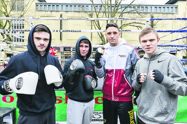 Horseshoe Amateur and Professional boxing club showed they had a lot of clout by staging a demonstration in the town centre. From, are Ryan Martin, Danny Carter, Kelvin Young and Andy Harris