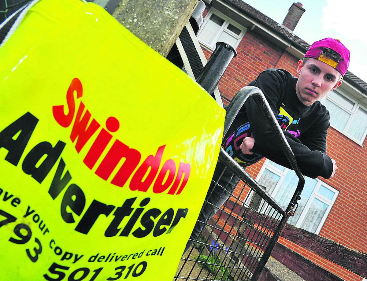 Adver paperboy Sam Robinson is upset after his new bike was stolen, leaving it harder for him to do his rounds