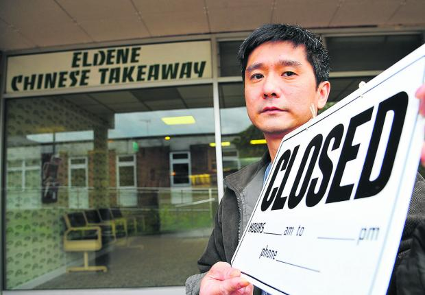 Businesses in Eldene are upset about the demolition of the Eldene centre. Pictured is Phil Tiet, owner of Eldene Chinese Takeaway