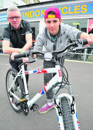 Swindon Cycles have donated a bicycle to Adver delivery boy Sam Robinson, who had his bike stolen. Sam is pictured with shop manager Graham Terrett