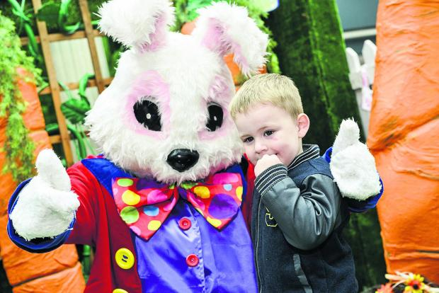 The Easter Bunny met three-year-old Codie Ockwell when he dropped in to the Brunel Centre