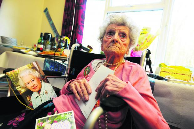 Iris Boulton, pictured on her 100th birthday