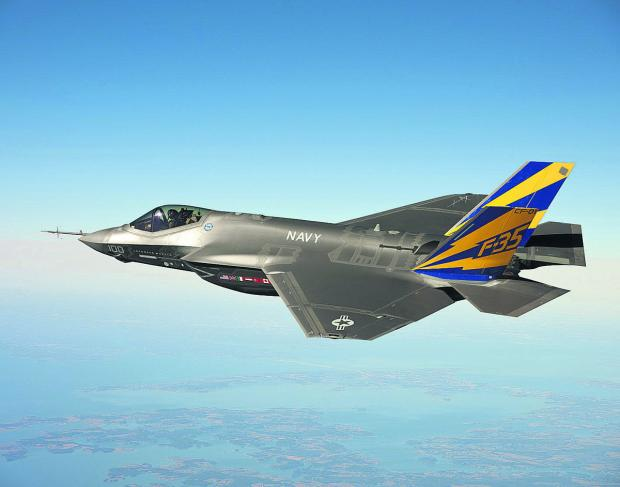 The F-35 Lightning II which will make its international debut in July at the Royal International Air Tattoo in Fairford and will also fly at the Farnborough International Air Show