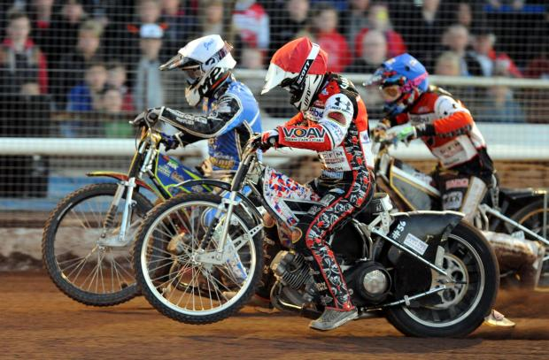 Swindon Robins rider Simon Gustafsson in action last night at Blunsdon