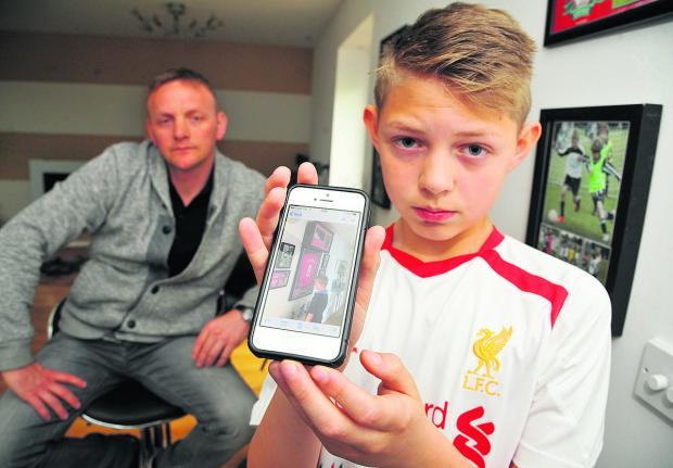 Lee Standen, left, from Taw Hill has had his flat broken into and loads of football memorabilia being stolen belonging to his son Harry, right