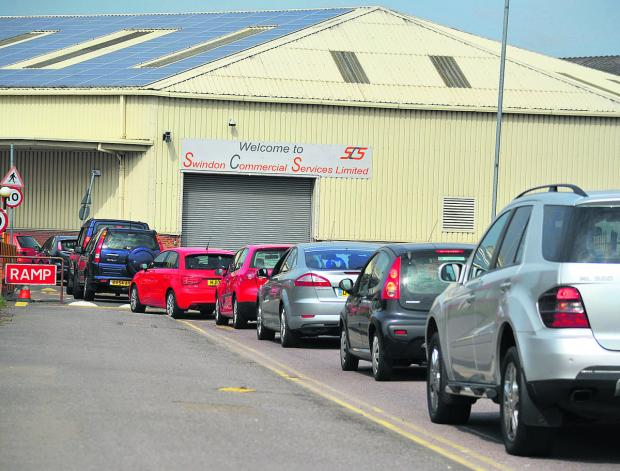 Queues yesterday at the recycling centre