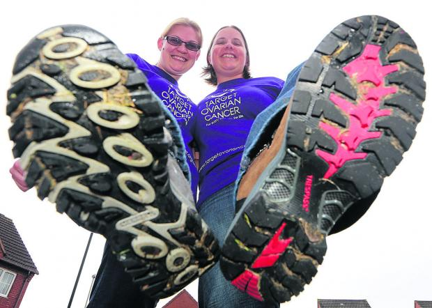 Ali and Lisa Williams, from Swindon, are trekking along Hadrian's Wall for Target Ovarian Cancer charity