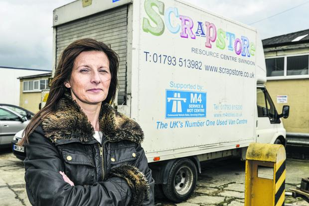 Olivia McCann, of the Scrapstore, with the van that was damaged