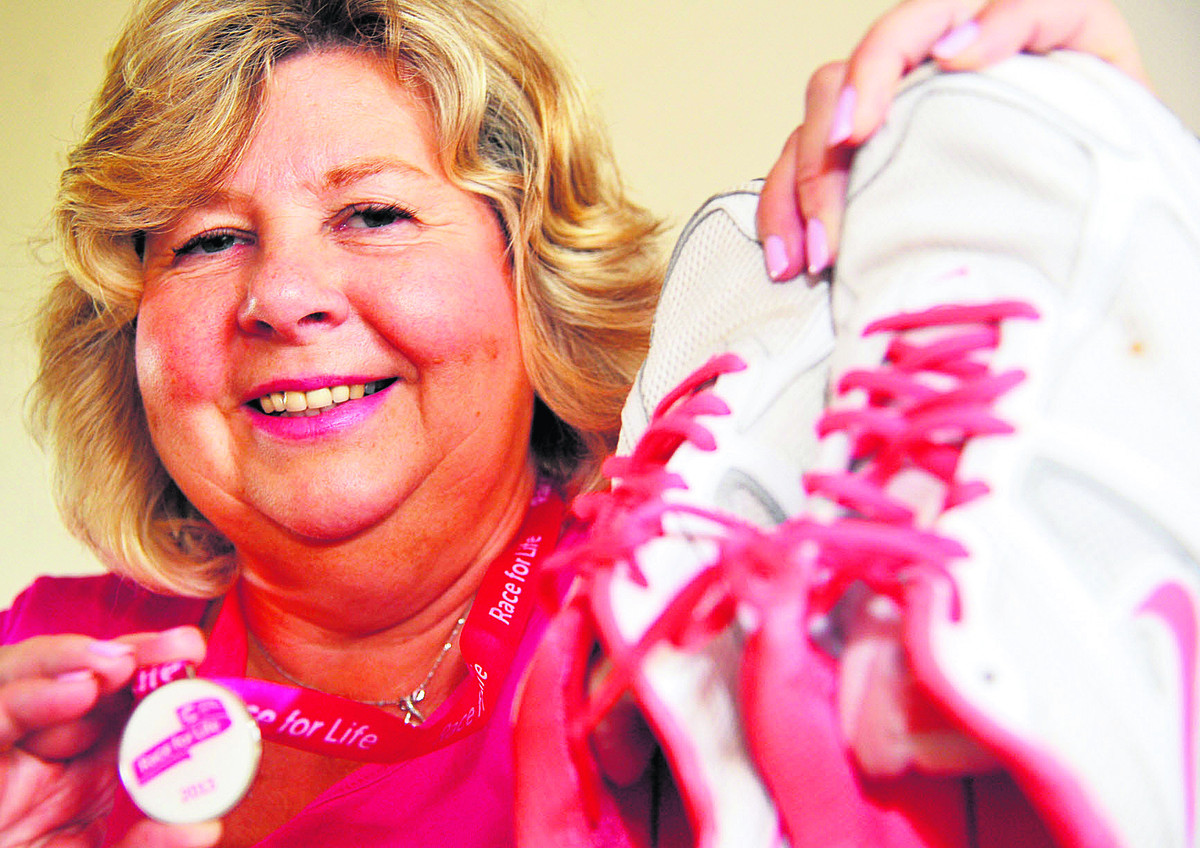 Carol Tedham gets ready for Race For Life