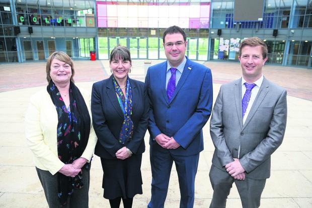 From left, Pat Porter, the chairman of governors at Nova Hreod School, current principal Julie Tridgell, new principal Darren Barton and new executive principal Ben Parnell