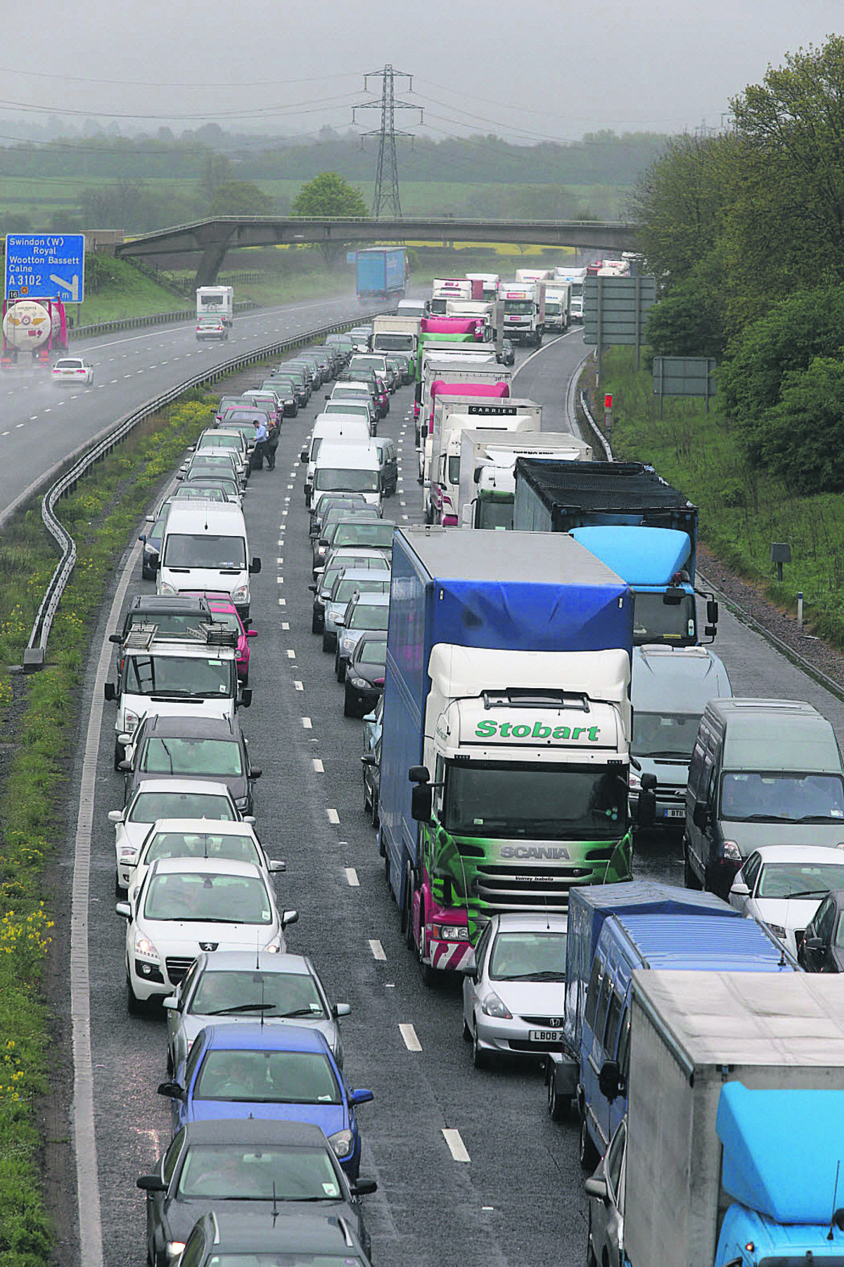 Going nowhere – the tailback on the M4 following yesterday morning's pile-up