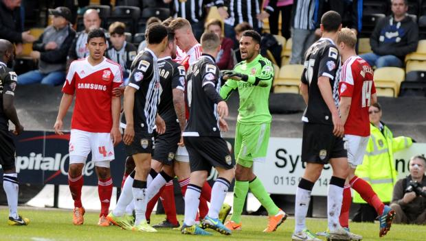 Tempers boil over at Meadow Lane. Picture: Dave Evans