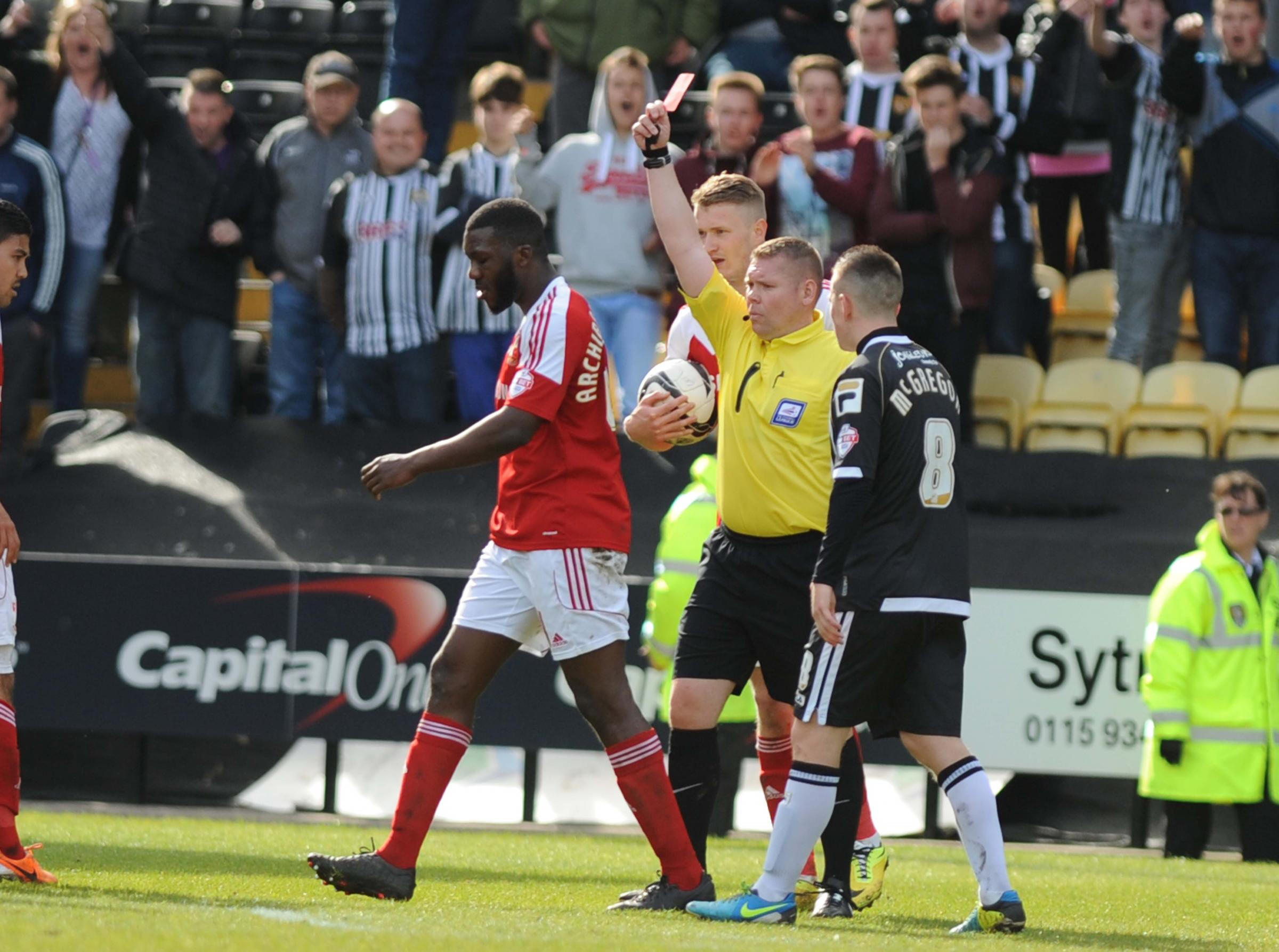 Troy Archibald-Henville is given his marching orders at Notts County. Picture: Dave Evans
