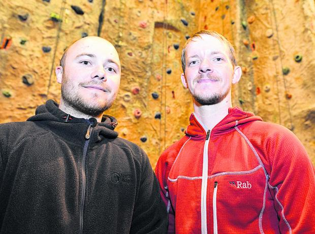 Swindon Advertiser: Dan Thain, above left, with Brian Hall who helped to save a woman who fell while climbing Ben Nevis