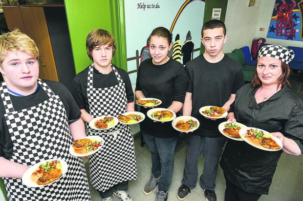 Liam Dodson, Aaron James, Jade Hopkins, Kyle Parmenter, Michelle Ali with dishes they prepared
