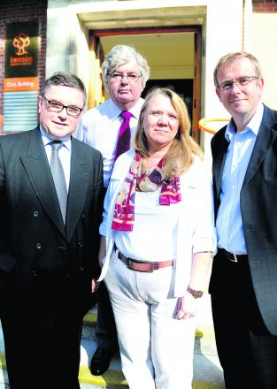 MP Robert Buckland, Andy Drinkwater, Lorraine Williams and David Bernard at an  appeal hearing for the Hook Street development
