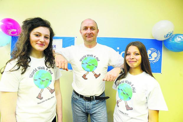 Peter Jenkins with logo designers Cerys Heath and Emily Coooper