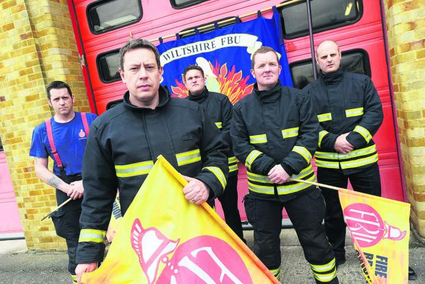 Striking firemen at Drove fire station