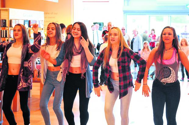 Tanwood School for Performing Arts tap dancers doing a flash mob at John Lewis, Mannington