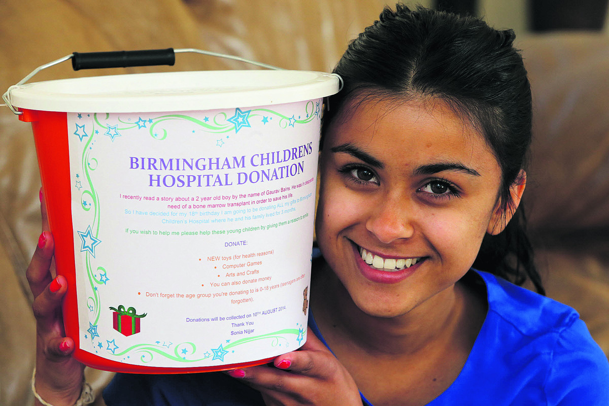 17-year-old Sonia Nijjar is giving her 18th birthday presents to poorly children in Birmingham Hospital