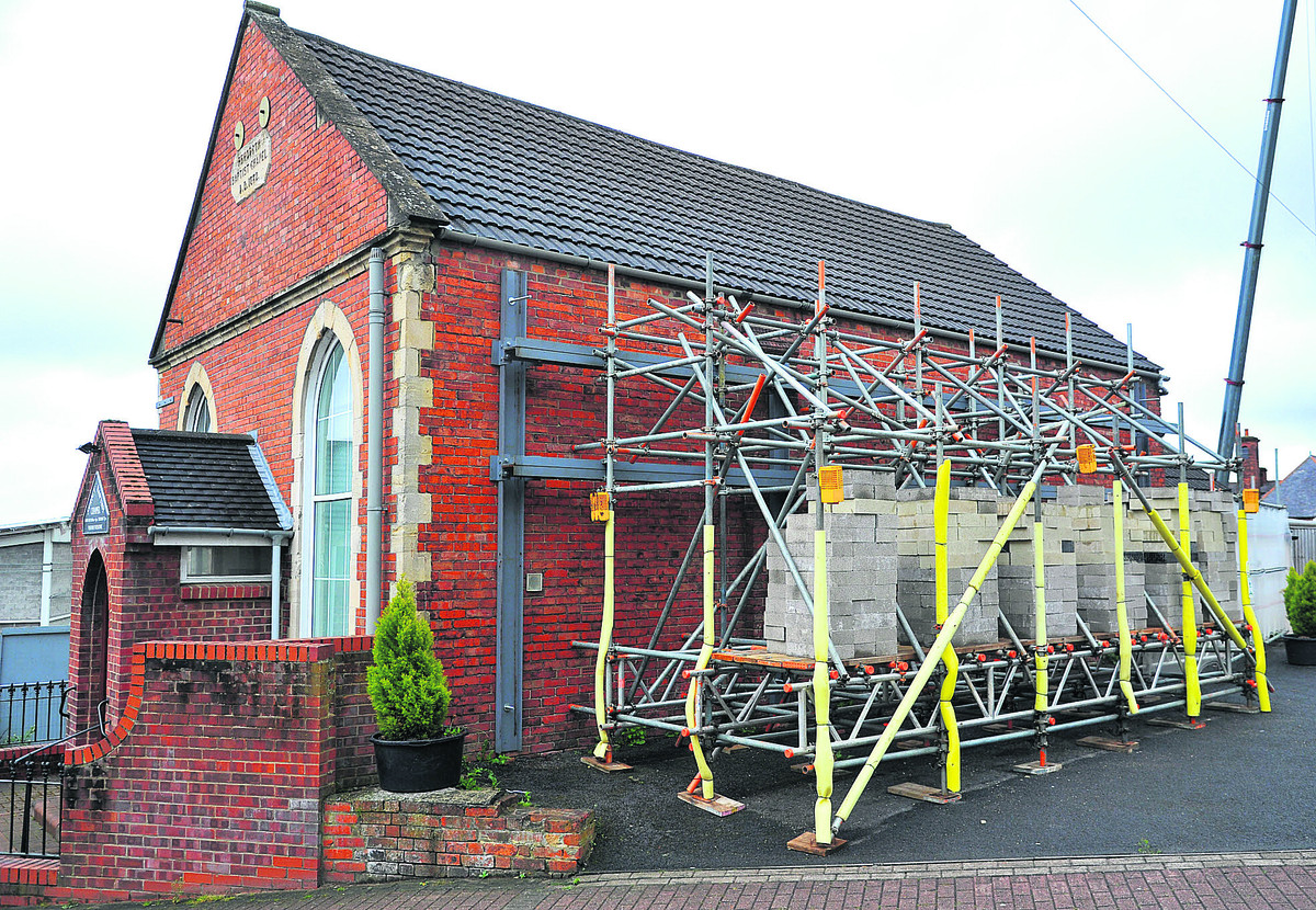 Rehoboth Strict Baptist Chapel at the former college site is undergoing building work after the walls started cracking