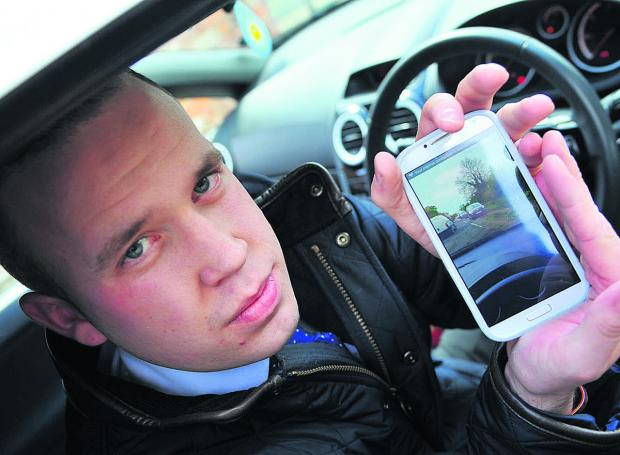 Lee Clayton with footage he took on his mobile phone after the near miss