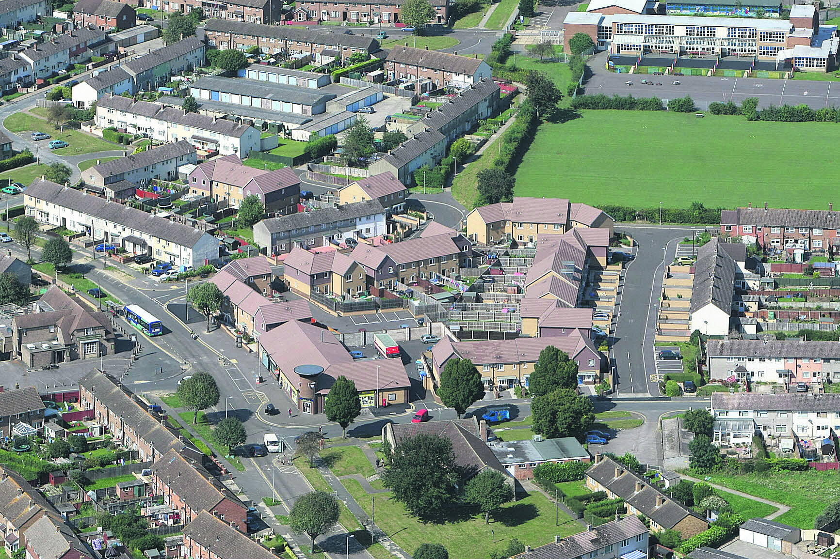 An aerial view of Penhill Drive. Penhill Primary can be seen top right