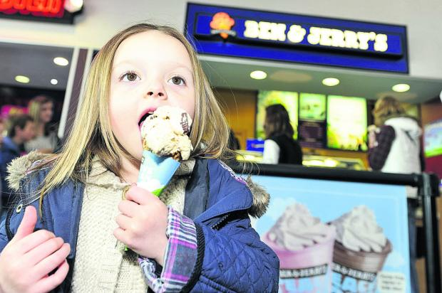 Paris-Capri enjoys an ice cream at Empire Cinema, in Greenbridge, which held a free cone day to help raise money for Prospect Hospice