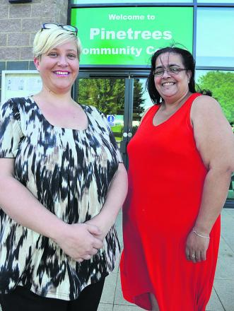Kerrie Payton and Kathy Holland, right, outside the Pinetrees Community Centre